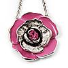 Pink Enamel Rose Pendant