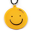 Yellow Plastic Smiling Face Pendant (Black)