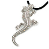 Antique Silver Crystal Lizard Velour Cord Pendant