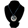 Tribal Hammered Round Blue Silk Cord Pendant (Silver Tone)
