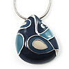 Blue Fancy Teardrop-Shaped Enamel Pendant (Silver Tone)