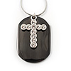 Clear Crystal Cross Dog Tag Pendant (Silver&Black Tone)