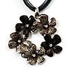 Slate Grey Enamel Floral Cotton Cord Pendant Necklace