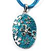 Light Blue Enamel Floral Oval Pendant With Cotton Cord (Silver Tone) - 38cm Length