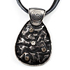 Black Enamel Textured Oval Pendant With Cotton Cord Necklace ( Silver Tone) - 37cm Length