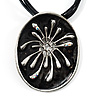 Black Enamel Oval Pendant With Cotton Cord Necklace ( Silver Tone) - 36cm Length