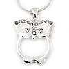 Rhodium Plated Crystal Owl Pendant With Snake Chain - 36cm Length