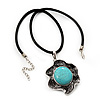 Burn Silver Turquoise Stone Flower Pendant On Leather Cord - 40cm Length