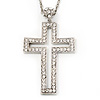 Oversized Open Diamante Cross Pendant Necklace In Rhodium Plated Metal - 64cm Length with 6cm extension