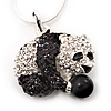 Crystal Panda Bear Pendant Necklace In Rhodium Plated Metal - 44cm Length