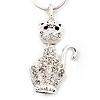 Crystal Cat  Pendant Necklace In Rhodium Plated Metal - 44cm Length