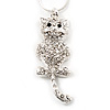 Crystal Cat With Dangling Tail Pendant Necklace In Rhodium Plated Metal - 44cm Length