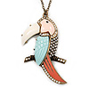 Large Mutlicoloured 'Kakadu Bird' Pendant Necklace In Antique Gold Metal - 70cm Length