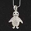 Diamante 'Penguin' Pendant Necklace In Rhodium Plated Metal - 40cm Length & 4cm Extension