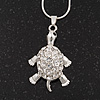 Cute Crystal 'Turtle' Pendant Pendant Necklace In Rhodium Plated Metal - 40cm Length & 4cm Extension