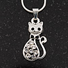 Small Cute Diamante 'Kitty In The Bow' Pendant Necklace In Rhodium Plated Metal - 40cm Length & 4cm Extension