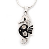 Small Black Enamel Diamante 'Seahorse' Pendant Necklace In Rhodium Plated Metal - 40cm Length & 4cm Extension