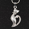 Rhodium Plated 'Cat With Crystal Tail' Pendant Necklace - 40cm Length & 4cm Extension
