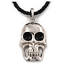 Silver Plated Skull Pendant On Black Leather Style Cord Necklace - 40cm Length & 4cm Extension