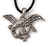 Silver Plated 'Eagle' Pendant On Black Leather Style Cord Necklace - 40cm Length & 4cm Extension