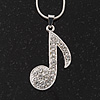 Silver Tone Diamante 'Musical Note' Pendant Necklace - 40cm Length & 4cm Extension