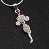 Tiny Crystal 'Mouse With Dangling Tail' Pendant Necklace In Rhodium Plated Metal - 40cm Length & 4cm Extension