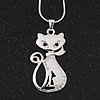 Rhodium Plated Diamante 'Cat' Pendant Necklace - 40cm Length & 4cm Extension