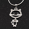 Sweet Open Crystal 'Kitty' Pendant Necklace In Rhodium Plated Metal - 40cm Length & 4cm Extension