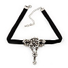 Vintage Diamante 'Rose' Choker Necklace On Black Velour Cord In Silver Finish - 29cm Length with 8cm extension