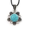 Burn Silver Turquoise Stone 'Flower' Pendant On Black Cotton Cord Necklace - 40cm Length/ 7cm Extension