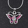 Pink Crystal 'Butterfly' Pendant Necklace In Silver Plating - 40cm Length/ 4cm Extension