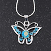 Light Blue Crystal 'Butterfly' Pendant Necklace In Silver Plating - 40cm Length/ 4cm Extension