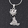 Cute Clear Diamante 'Cat' Pendant Necklace In Silver Plating - 40cm Length