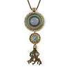 Long Blue Tassel Pendant Necklace In Burn Gold Finish - 70cm Length