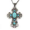 Antique Silver Turquoise Stone 'Cross' Pendant Necklace - 66cm L/ 3cm Ext