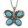 Turquoise Stone 'Butterfly' Pendant Necklace In Silver Plating - 68cm Length