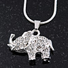 Silver Plated Diamante 'Elephant' Pendant Necklace - 40cm Length