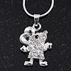 Silver Plated Diamante 'Cute Mouse' Pendant Necklace - 40cm Length
