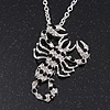 Long Black/Clear Swarovski Crystal 'Scorpion' Pendant Necklace In Rhodium Plating - 72cm Long/ 7cm Extension