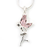 Delicate Alexandrite Coloured CZ 'Fairy' Pendant Necklace In Rhodium Plating - 42cm Length/ 5cm Extension - June Birth Stone