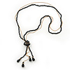 Long Black Faceted Glass Bead & Gold Beaded Chain Tassel Necklace - 76cm Length/ 12cm Tassel