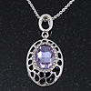 Rhodium Plated Light Amethyst CZ Oval Pendant - 38cm Length/ 5cm Extension