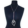 Long Double Heart Pendant Necklace In Rhodium Plating - 62cm Length/ 23cm Heart Tassel