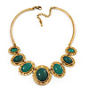 Ethnic Green Resin Oval Stone In Burn Gold Metal Choker Necklace - 34cm Length/ 6cm Extender