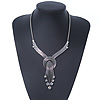 Vintage Burn Silver Diamante 'Knot' Necklace - 42cm Length/ 6cm Extender