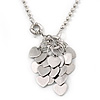 Multi Heart Pendant With Long Chunky Beaded Chain In Silver Tone - 72cm L