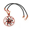 Copper Tone Black/Red Glass Bead Medallion Pendant  Black Leather Style Cord Necklace - 52cm Length