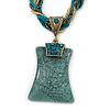 Vintage Bead Malachite Green Square Glass Pendant Necklace In Antique Gold Metal - 38cm Length/ 5cm Extender
