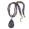Vintage Bead Purple Teardrop Glass Pendant Necklace In Antique Gold Metal - 38cm Length/ 5cm Extender