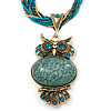 Vintage Bead 'Green Grey Owl' Pendant Necklace In Antique Gold Metal - 38cm Length/ 5cm Extender